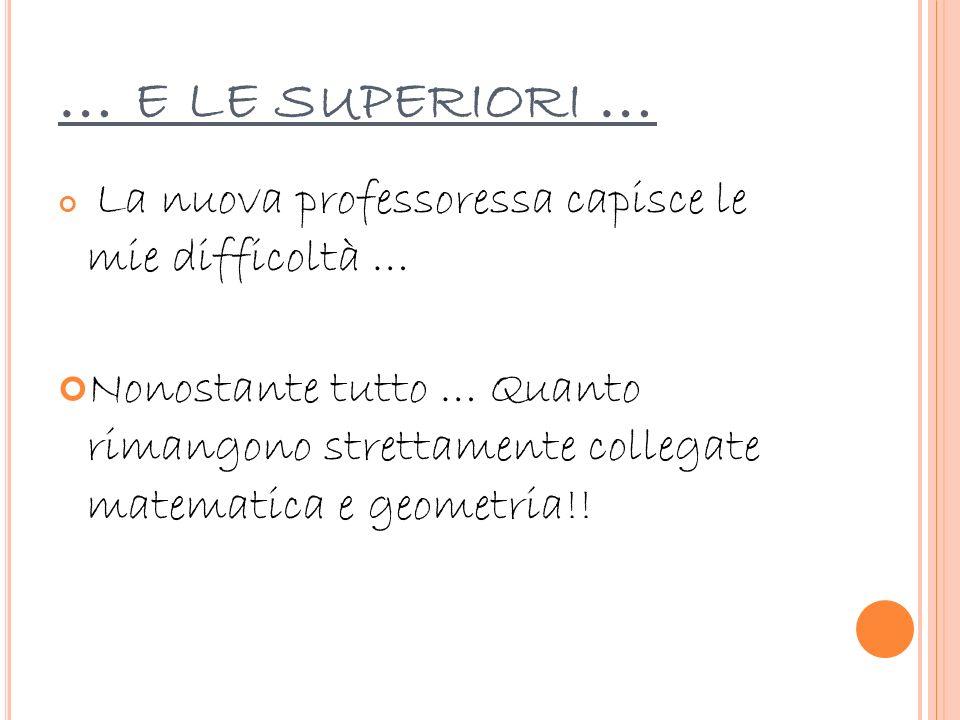 … E LE SUPERIORI … La nuova professoressa capisce le mie difficoltà … Nonostante tutto … Quanto rimangono strettamente collegate matematica e geometri