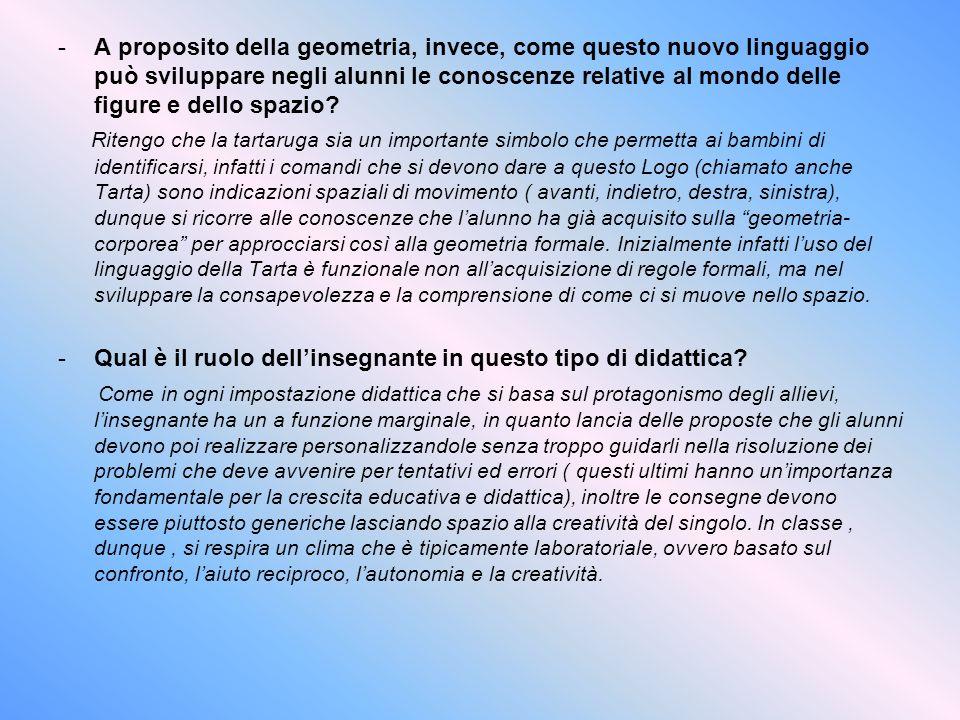 -A proposito della geometria, invece, come questo nuovo linguaggio può sviluppare negli alunni le conoscenze relative al mondo delle figure e dello sp