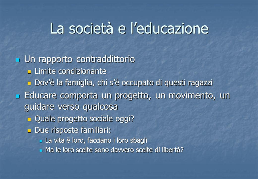 La società e leducazione Un rapporto contraddittorio Un rapporto contraddittorio Limite condizionante Limite condizionante Dovè la famiglia, chi sè oc