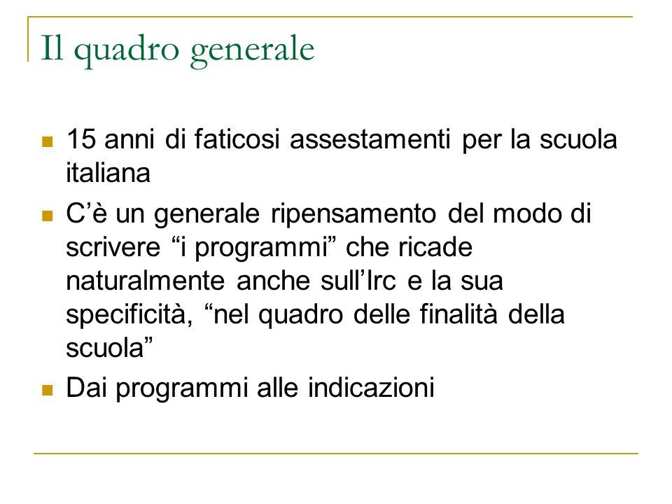 Il quadro generale 15 anni di faticosi assestamenti per la scuola italiana Cè un generale ripensamento del modo di scrivere i programmi che ricade naturalmente anche sullIrc e la sua specificità, nel quadro delle finalità della scuola Dai programmi alle indicazioni