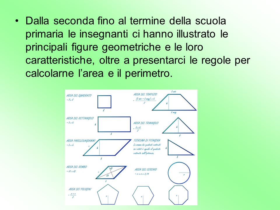 Dalla seconda fino al termine della scuola primaria le insegnanti ci hanno illustrato le principali figure geometriche e le loro caratteristiche, oltr