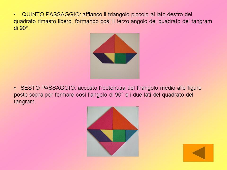QUINTO PASSAGGIO: affianco il triangolo piccolo al lato destro del quadrato rimasto libero, formando così il terzo angolo del quadrato del tangram di