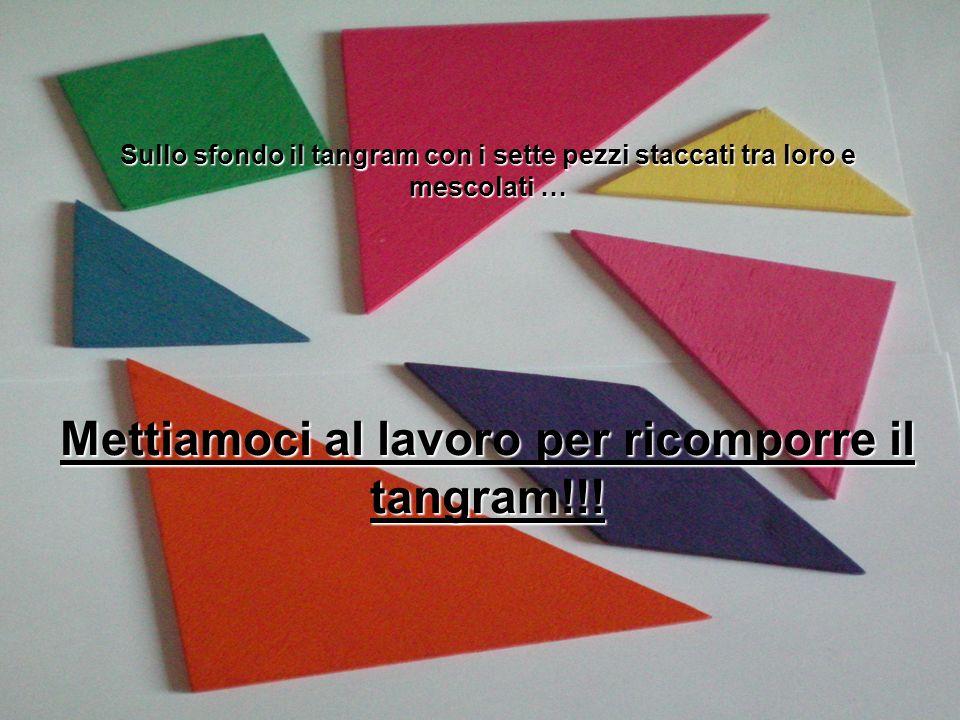 Sullo sfondo il tangram con i sette pezzi staccati tra loro e mescolati … Mettiamoci al lavoro per ricomporre il tangram!!!