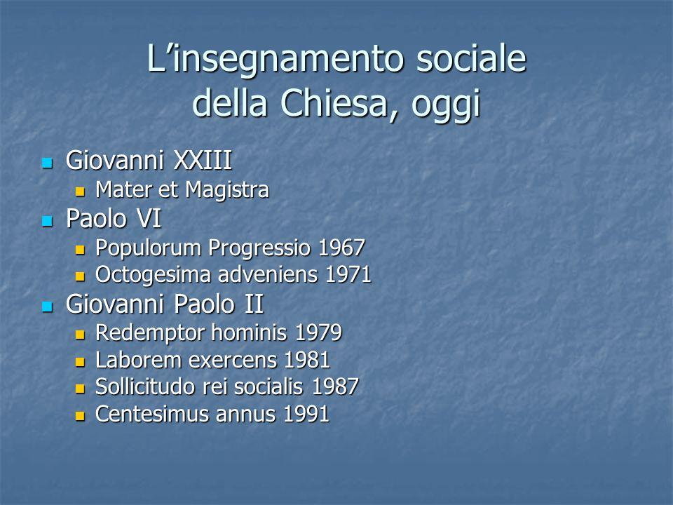 Linsegnamento sociale della Chiesa, oggi Giovanni XXIII Giovanni XXIII Mater et Magistra Mater et Magistra Paolo VI Paolo VI Populorum Progressio 1967