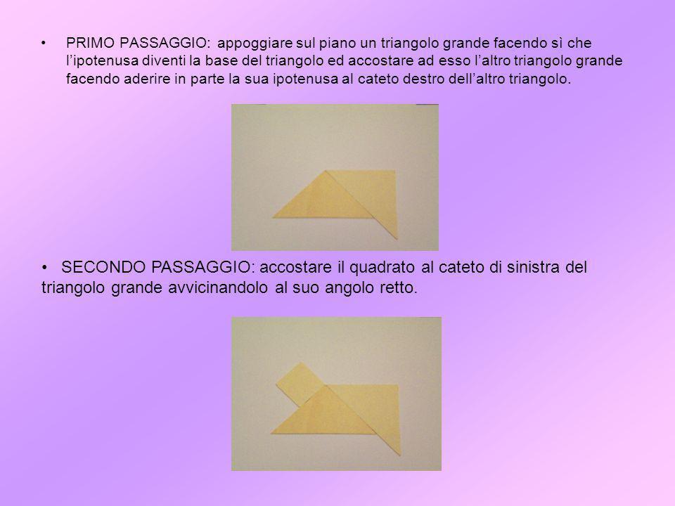 PRIMO PASSAGGIO: appoggiare sul piano un triangolo grande facendo sì che lipotenusa diventi la base del triangolo ed accostare ad esso laltro triangolo grande facendo aderire in parte la sua ipotenusa al cateto destro dellaltro triangolo.