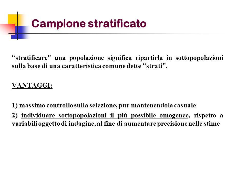 Campione stratificato stratificare una popolazione significa ripartirla in sottopopolazioni sulla base di una caratteristica comune dette strati. VANT