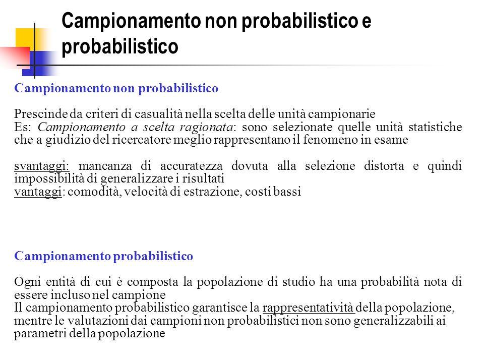 Campionamento non probabilistico e probabilistico Campionamento non probabilistico Prescinde da criteri di casualità nella scelta delle unità campiona