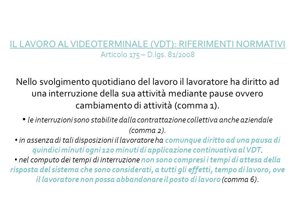 IL LAVORO AL VIDEOTERMINALE (VDT): RIFERIMENTI NORMATIVI Articolo 175 – D.lgs. 81/2008 Nello svolgimento quotidiano del lavoro il lavoratore ha diritt