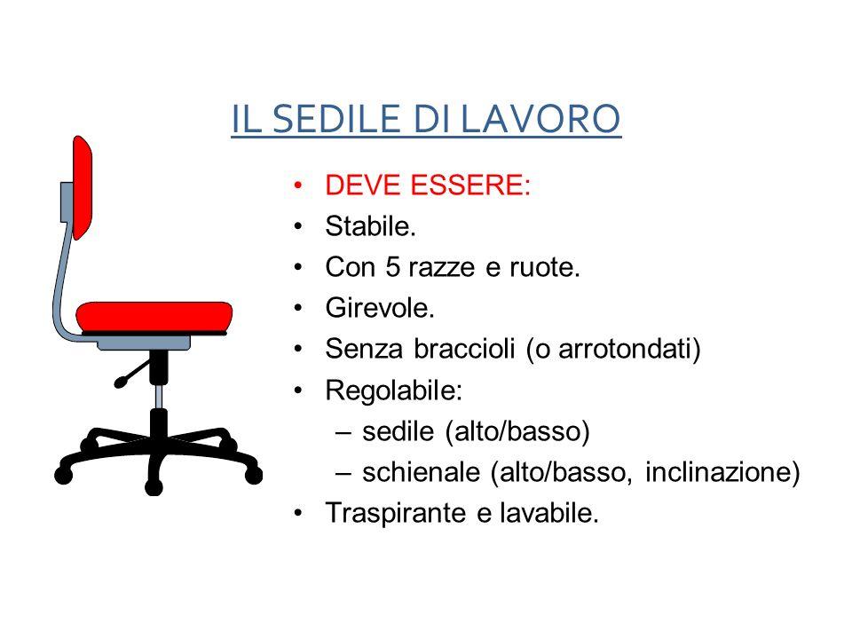 IL SEDILE DI LAVORO DEVE ESSERE: Stabile. Con 5 razze e ruote. Girevole. Senza braccioli (o arrotondati) Regolabile: –sedile (alto/basso) –schienale (