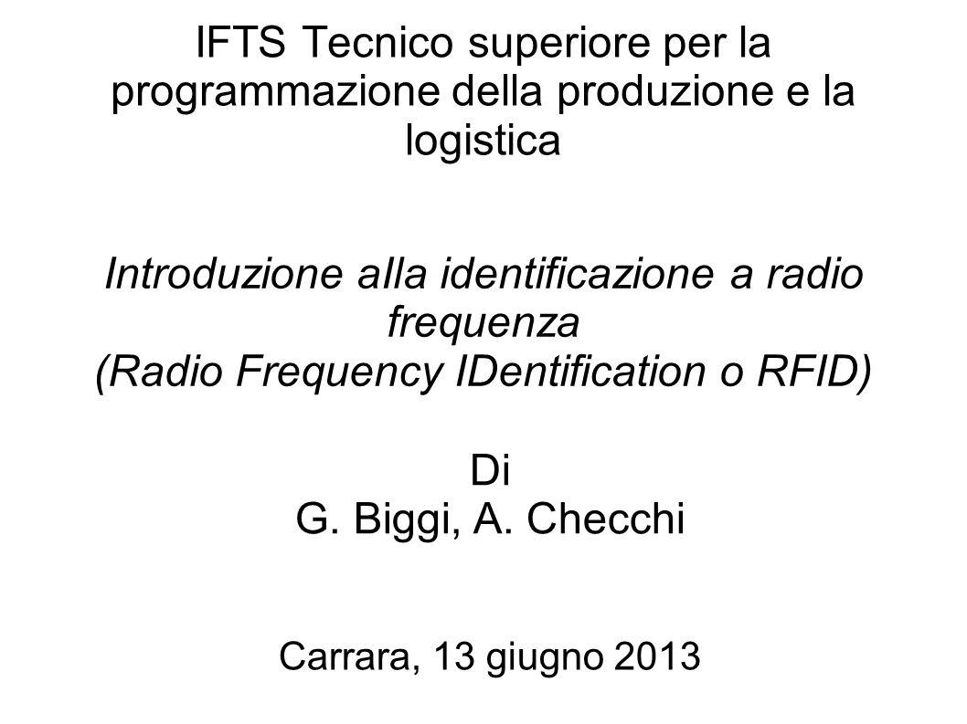 IFTS Tecnico superiore per la programmazione della produzione e la logistica Introduzione aIla identificazione a radio frequenza (Radio Frequency IDen