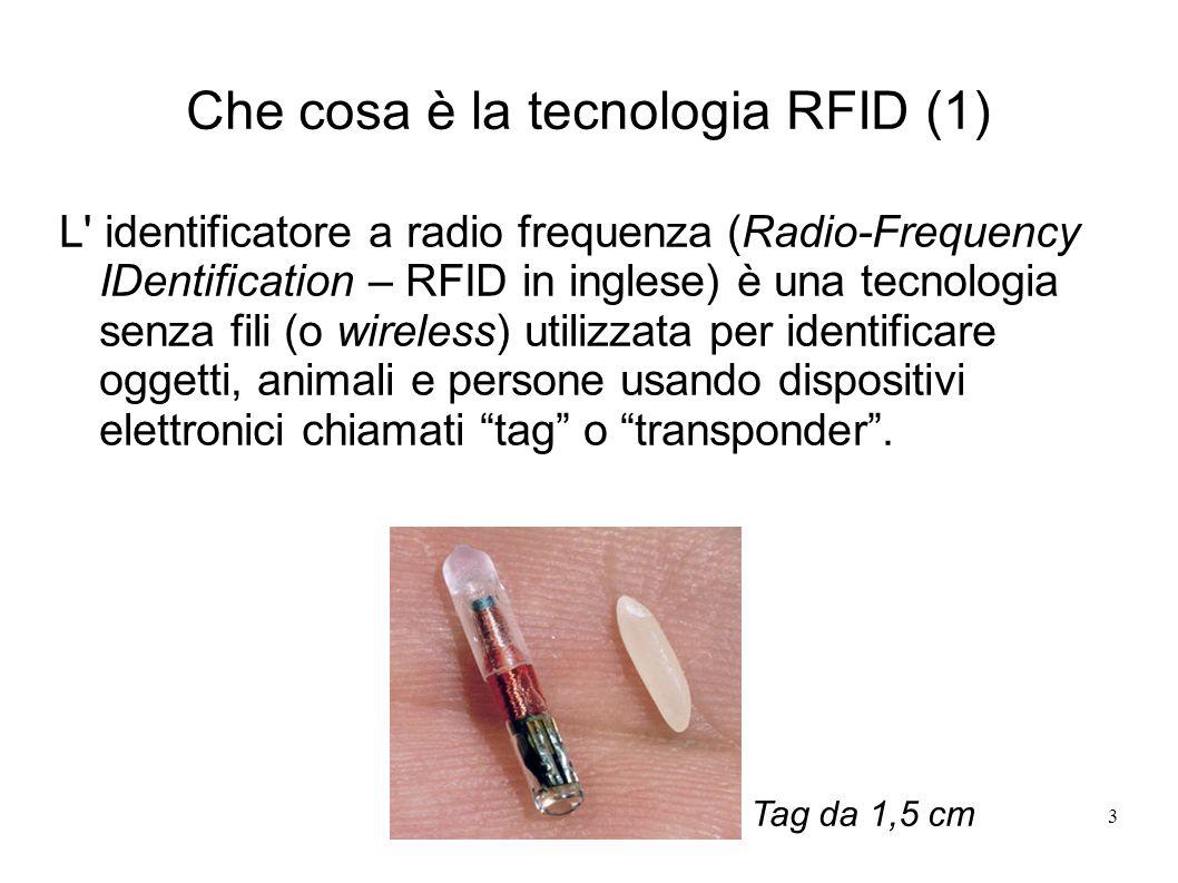 3 Che cosa è la tecnologia RFID (1) L' identificatore a radio frequenza (Radio-Frequency IDentification – RFID in inglese) è una tecnologia senza fili