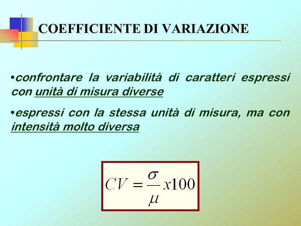 6 COEFFICIENTE DI VARIAZIONE confrontare la variabilità di caratteri espressi con unità di misura diverse espressi con la stessa unità di misura, ma c