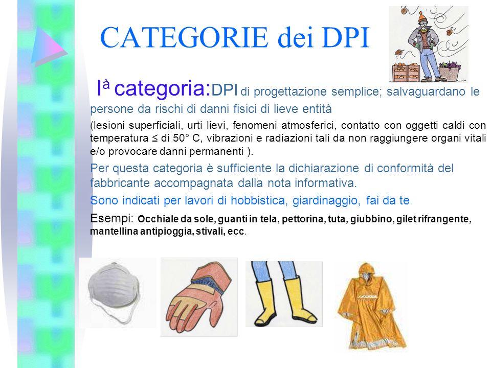 CATEGORIE dei DPI I à categoria: DPI di progettazione semplice; salvaguardano le persone da rischi di danni fisici di lieve entità (lesioni superficia