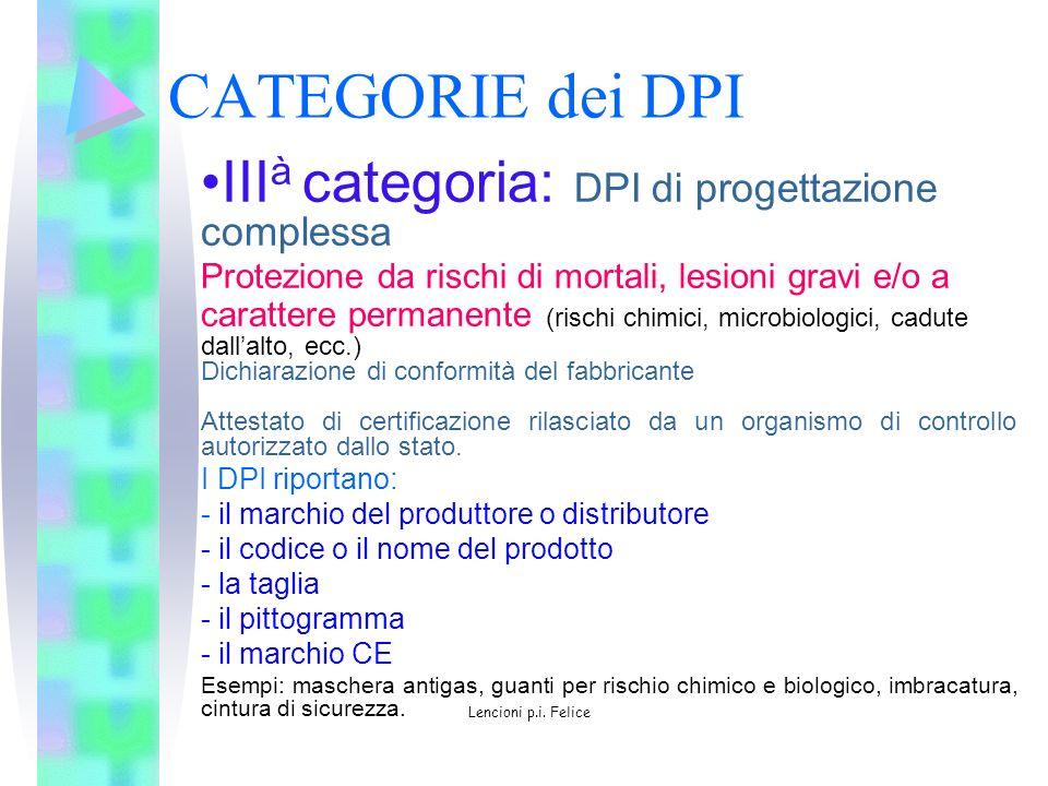 CATEGORIE dei DPI III à categoria: DPI di progettazione complessa Protezione da rischi di mortali, lesioni gravi e/o a carattere permanente (rischi ch