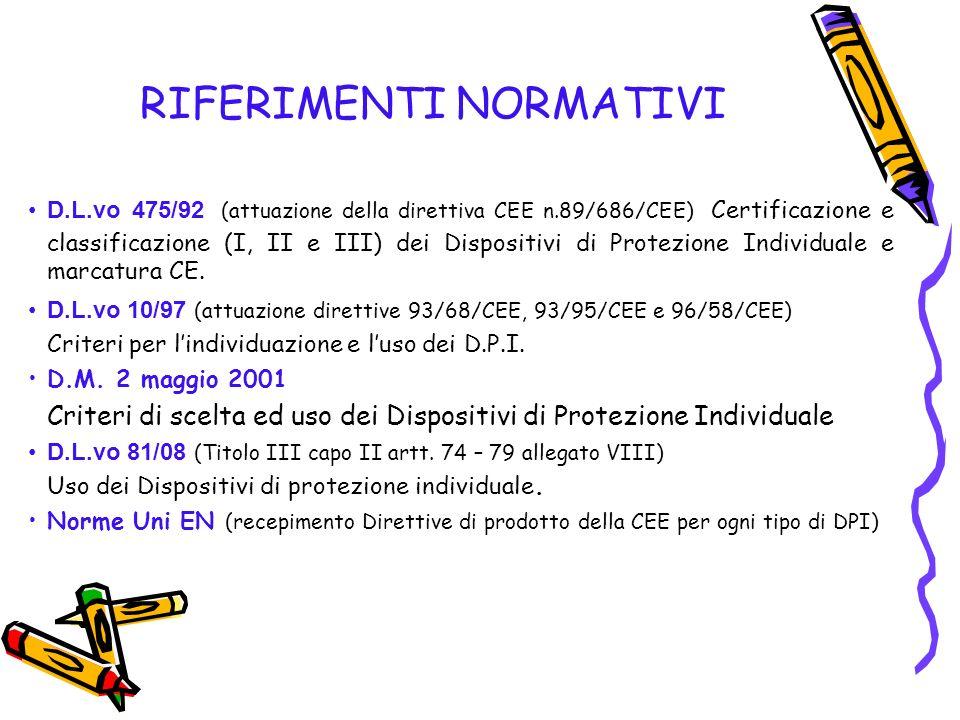 RIFERIMENTI NORMATIVI D.L.vo 475/92 (attuazione della direttiva CEE n.89/686/CEE) Certificazione e classificazione (I, II e III) dei Dispositivi di Pr