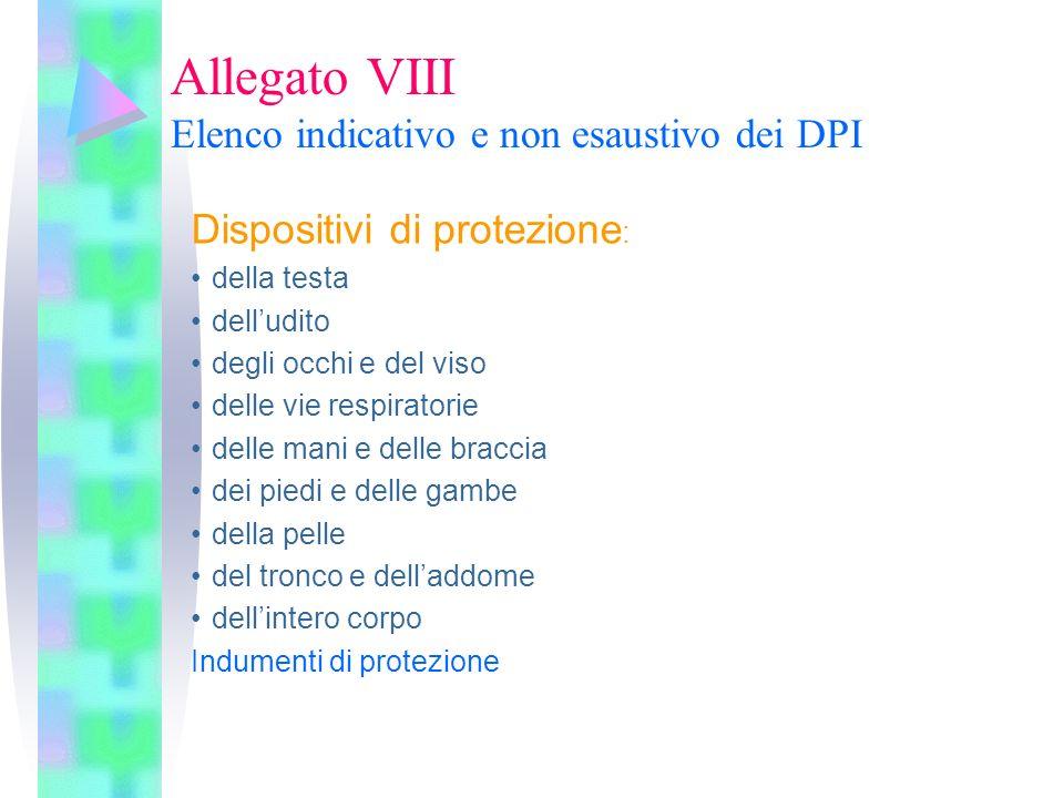 Allegato VIII Elenco indicativo e non esaustivo dei DPI Dispositivi di protezione : della testa delludito degli occhi e del viso delle vie respiratori