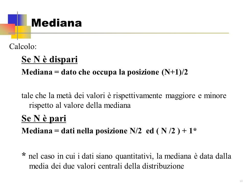 10 Mediana Calcolo: Se N è dispari Mediana = dato che occupa la posizione (N+1)/2 tale che la metà dei valori è rispettivamente maggiore e minore risp