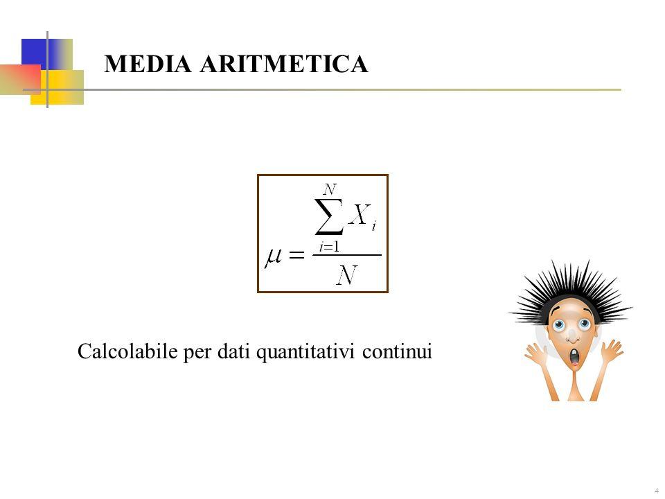 4 MEDIA ARITMETICA Calcolabile per dati quantitativi continui