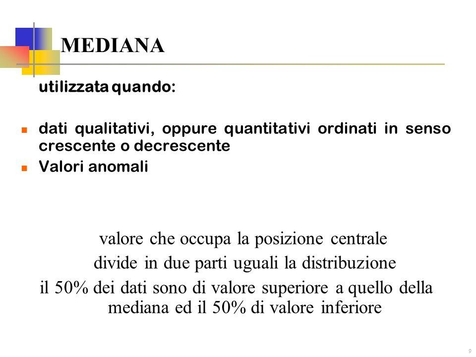 9 MEDIANA utilizzata quando: dati qualitativi, oppure quantitativi ordinati in senso crescente o decrescente Valori anomali valore che occupa la posiz