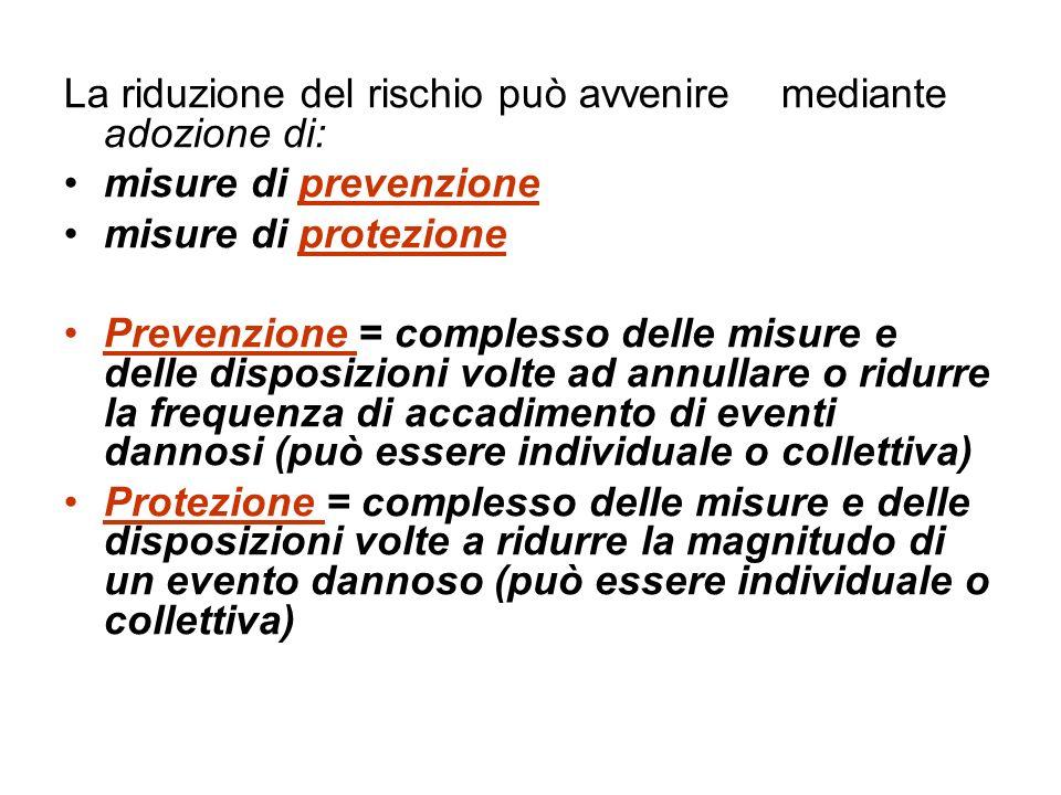 La riduzione del rischio può avvenire mediante adozione di: misure di prevenzione misure di protezione Prevenzione = complesso delle misure e delle di