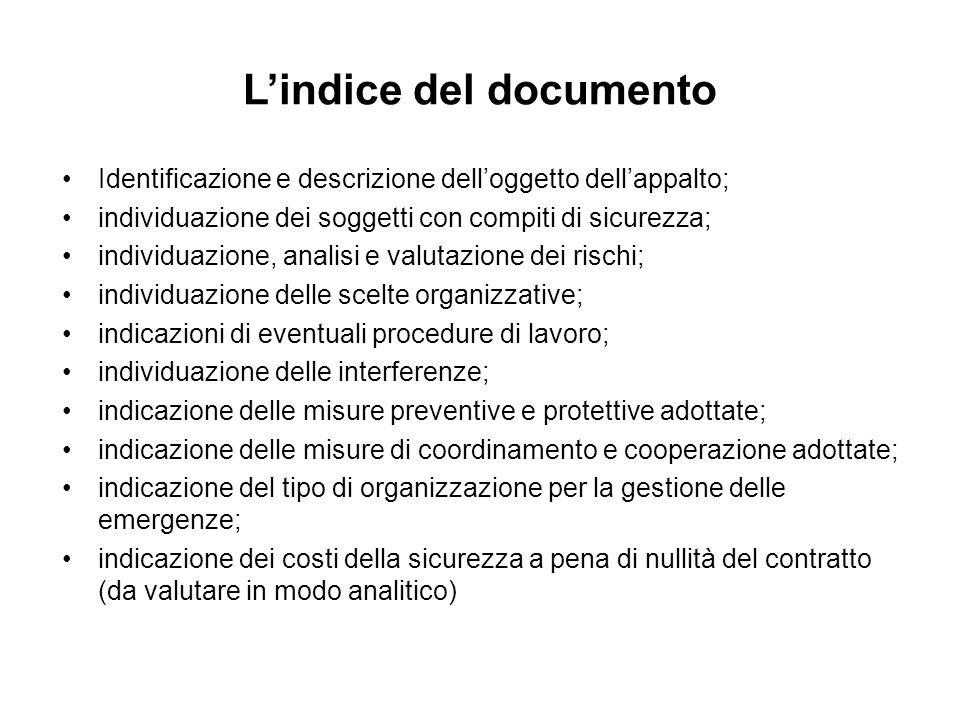 Lindice del documento Identificazione e descrizione delloggetto dellappalto; individuazione dei soggetti con compiti di sicurezza; individuazione, ana