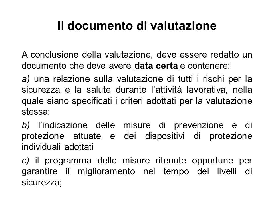 Il documento di valutazione A conclusione della valutazione, deve essere redatto un documento che deve avere data certa e contenere: a) una relazione