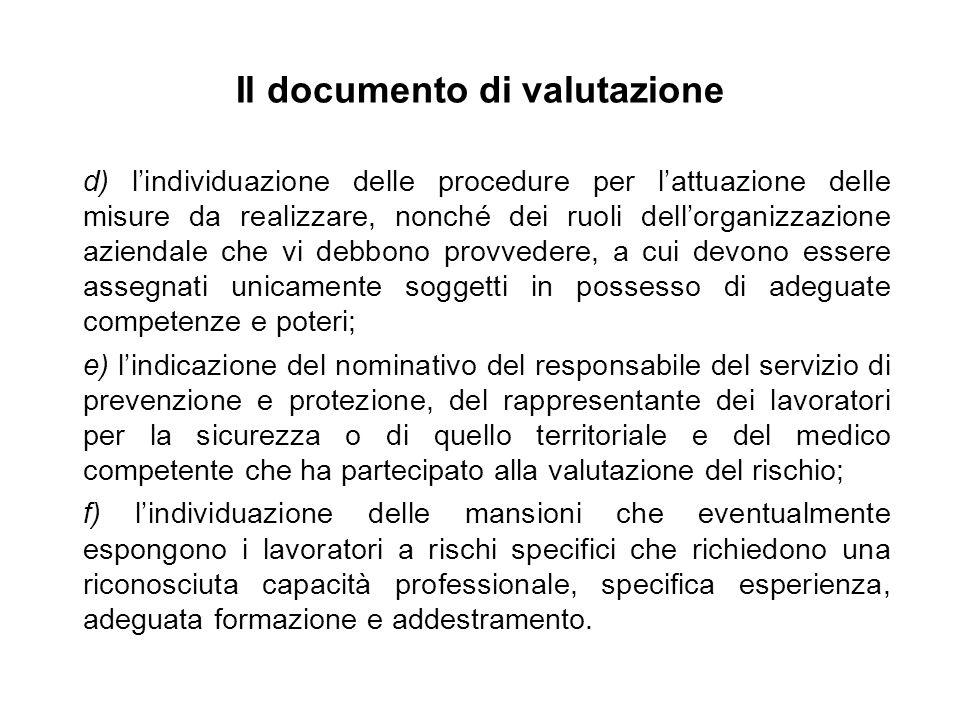 Il documento di valutazione d) lindividuazione delle procedure per lattuazione delle misure da realizzare, nonché dei ruoli dellorganizzazione azienda