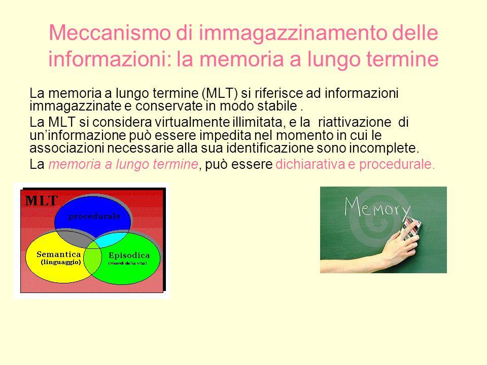 Memoria dichiarativa La memoria dichiarativa o esplicita riguarda le informazioni comunicabili, che sono richiamate consciamente.