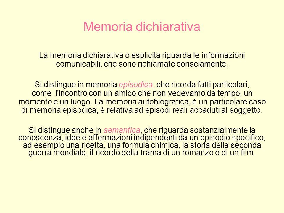 Memoria procedurale La memoria procedurale o implicita riguarda le informazioni relative a comportamenti automatici.