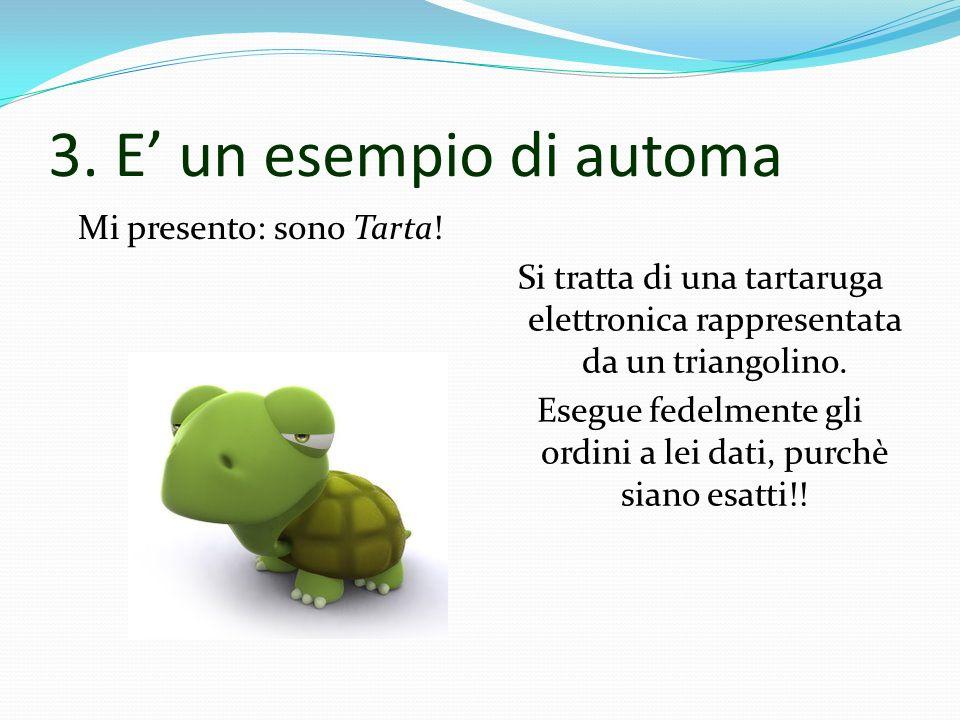 3. E un esempio di automa Mi presento: sono Tarta! Si tratta di una tartaruga elettronica rappresentata da un triangolino. Esegue fedelmente gli ordin