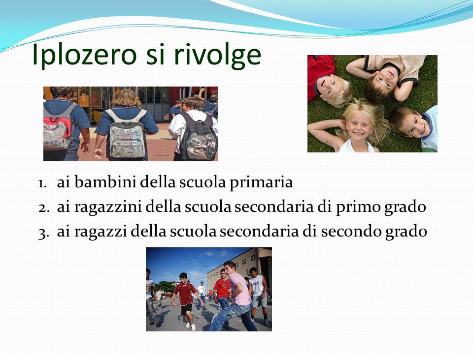 Iplozero si rivolge 1. ai bambini della scuola primaria 2. ai ragazzini della scuola secondaria di primo grado 3. ai ragazzi della scuola secondaria d