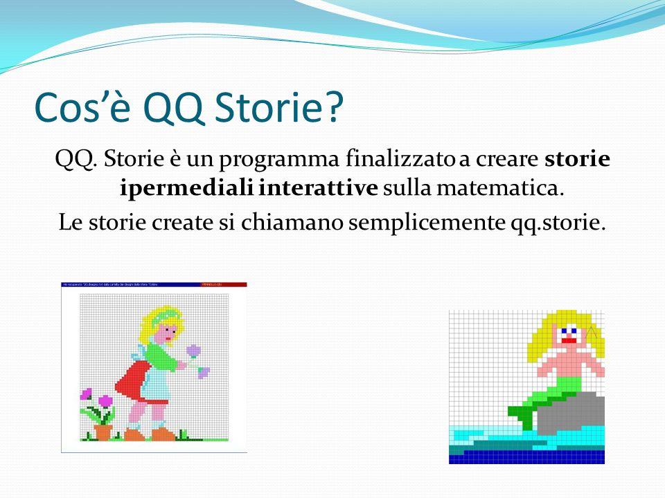 Cosè QQ Storie? QQ. Storie è un programma finalizzato a creare storie ipermediali interattive sulla matematica. Le storie create si chiamano semplicem