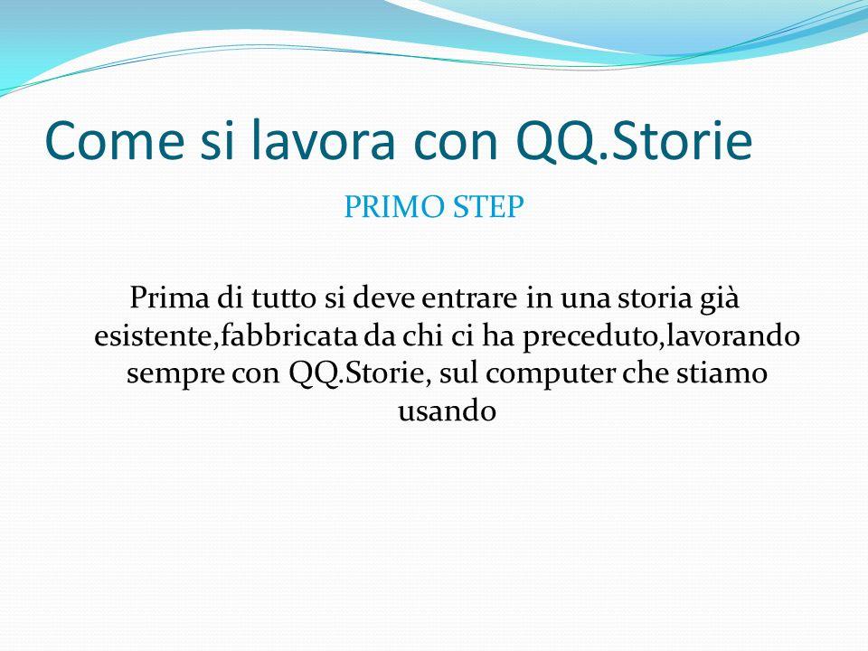 Come si lavora con QQ.Storie PRIMO STEP Prima di tutto si deve entrare in una storia già esistente,fabbricata da chi ci ha preceduto,lavorando sempre