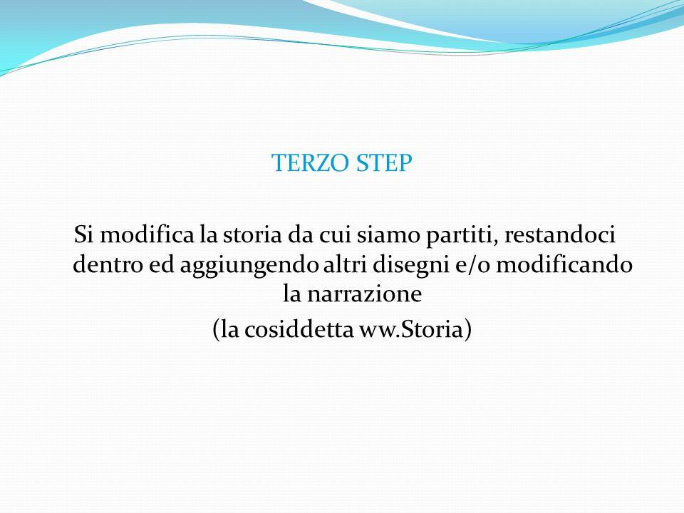 TERZO STEP Si modifica la storia da cui siamo partiti, restandoci dentro ed aggiungendo altri disegni e/o modificando la narrazione (la cosiddetta ww.