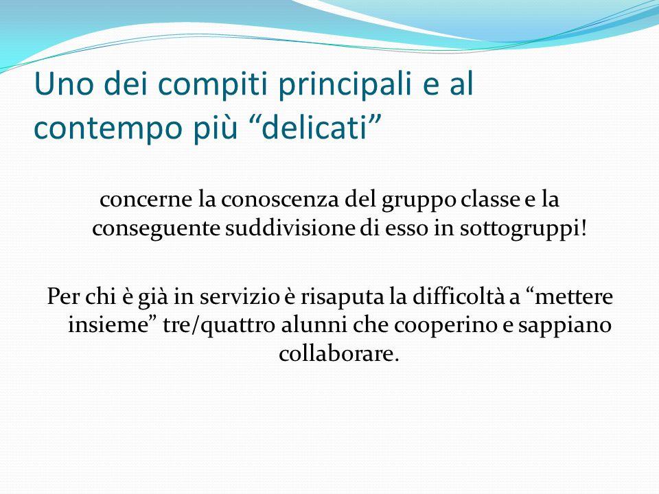 Uno dei compiti principali e al contempo più delicati concerne la conoscenza del gruppo classe e la conseguente suddivisione di esso in sottogruppi! P