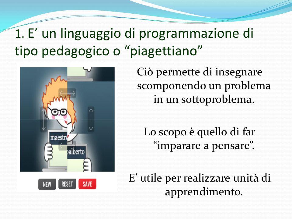 1. E un linguaggio di programmazione di tipo pedagogico o piagettiano Ciò permette di insegnare scomponendo un problema in un sottoproblema. Lo scopo