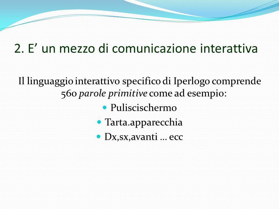 2. E un mezzo di comunicazione interattiva Il linguaggio interattivo specifico di Iperlogo comprende 560 parole primitive come ad esempio: Puliscische