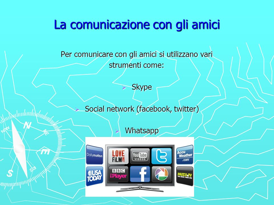 La comunicazione con gli amici Per comunicare con gli amici si utilizzano vari strumenti come: Skype Skype Social network (facebook, twitter) Social n