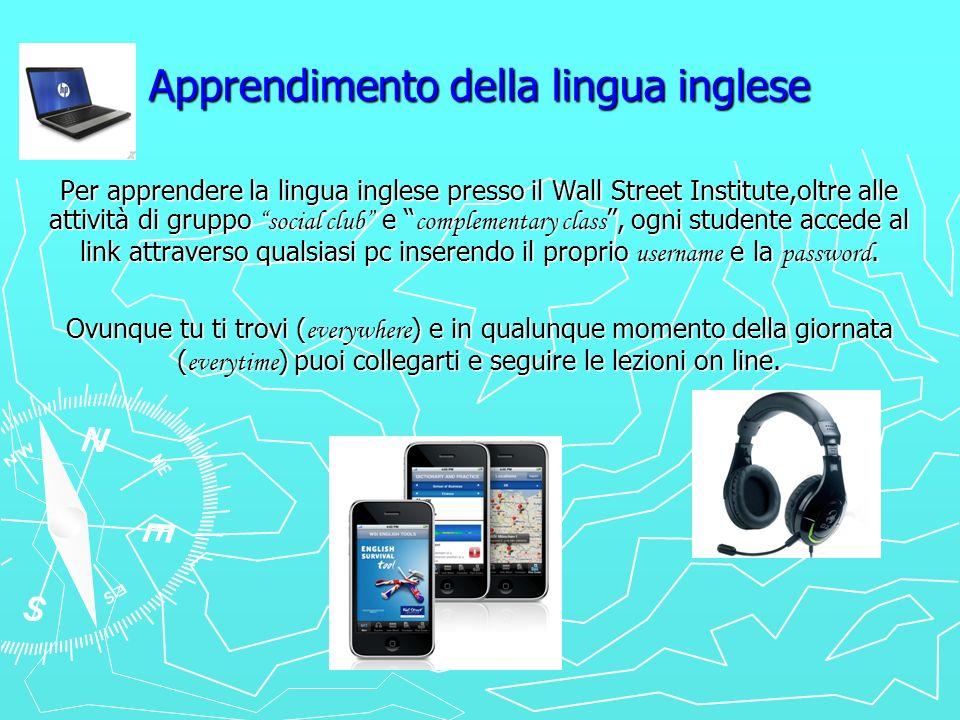 Apprendimento della lingua inglese Per apprendere la lingua inglese presso il Wall Street Institute,oltre alle attività di gruppo social club e comple