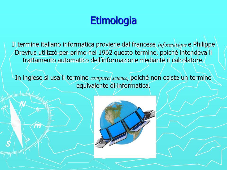 Etimologia Il termine italiano informatica proviene dal francese informatique e Philippe Dreyfus utilizzò per primo nel 1962 questo termine, poiché in