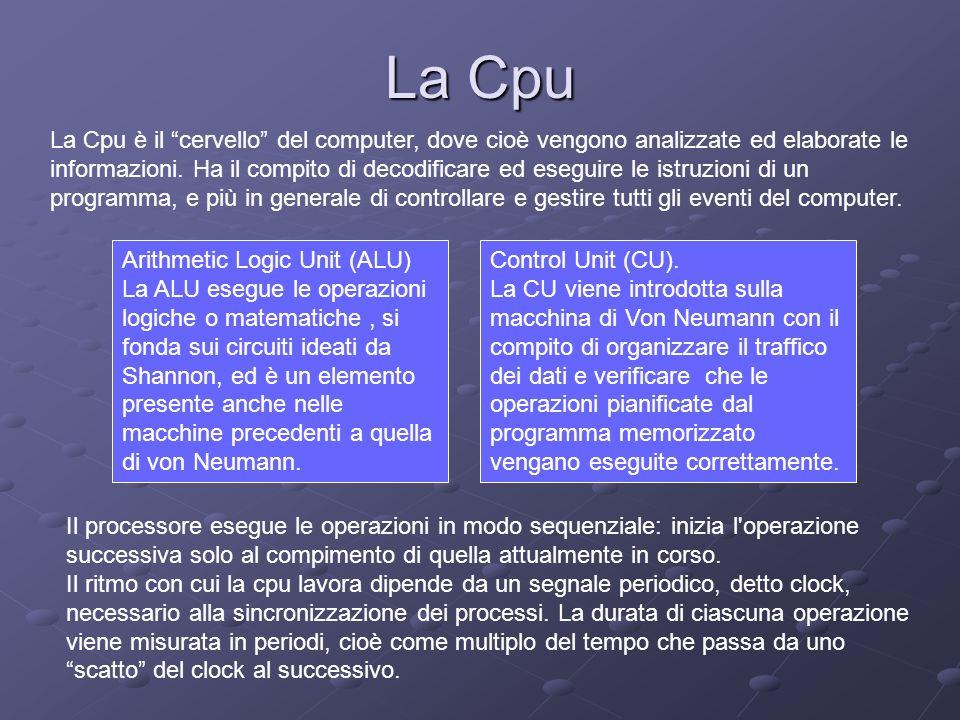 La Cpu La Cpu è il cervello del computer, dove cioè vengono analizzate ed elaborate le informazioni. Ha il compito di decodificare ed eseguire le istr