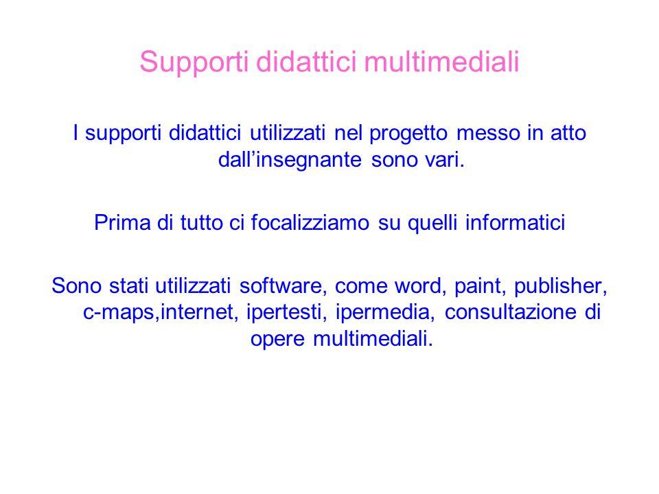 Supporti didattici multimediali I supporti didattici utilizzati nel progetto messo in atto dallinsegnante sono vari. Prima di tutto ci focalizziamo su