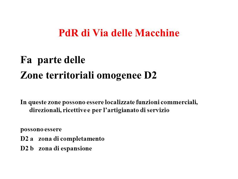 PdR di Via delle Macchine Fa parte delle Zone territoriali omogenee D2 In queste zone possono essere localizzate funzioni commerciali, direzionali, ricettive e per lartigianato di servizio possono essere D2 a zona di completamento D2 b zona di espansione