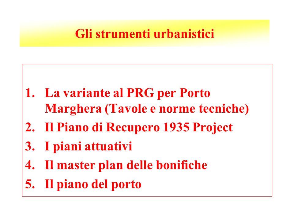 Gli strumenti urbanistici 1.La variante al PRG per Porto Marghera (Tavole e norme tecniche) 2.Il Piano di Recupero 1935 Project 3.I piani attuativi 4.