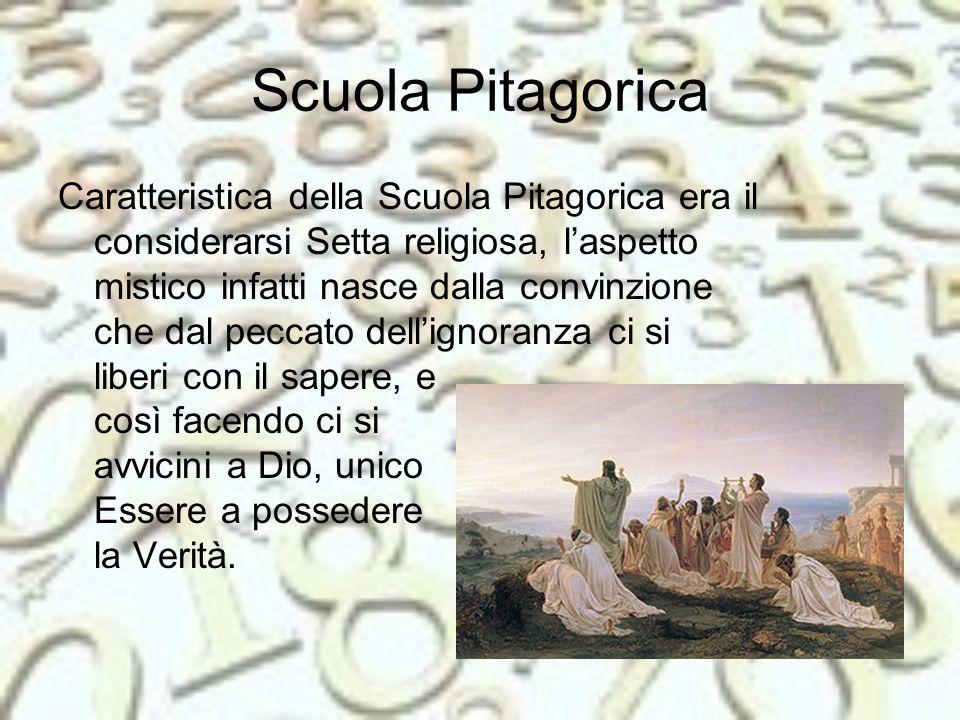 I discepoli erano stati divisi da Pitagora stesso in due gruppi: 1- I Matematici: la cerchia più ristretta, vivevano nella scuola, erano gli unici a poter interloquire col maestro durante le lezioni ed erano tenuti al segreto.