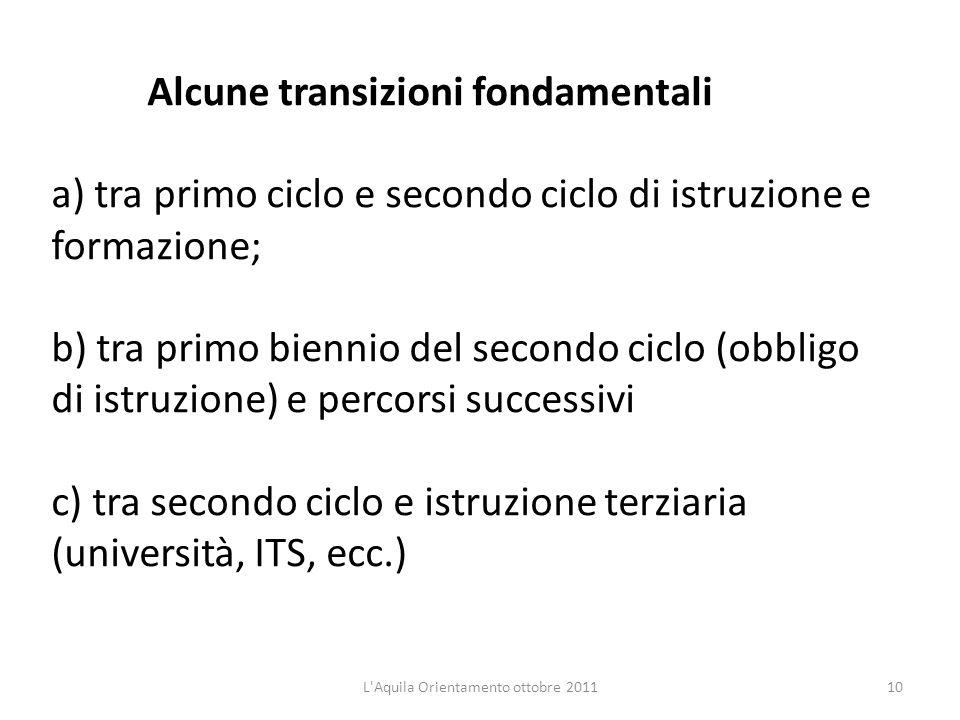 Alcune transizioni fondamentali a) tra primo ciclo e secondo ciclo di istruzione e formazione; b) tra primo biennio del secondo ciclo (obbligo di istr