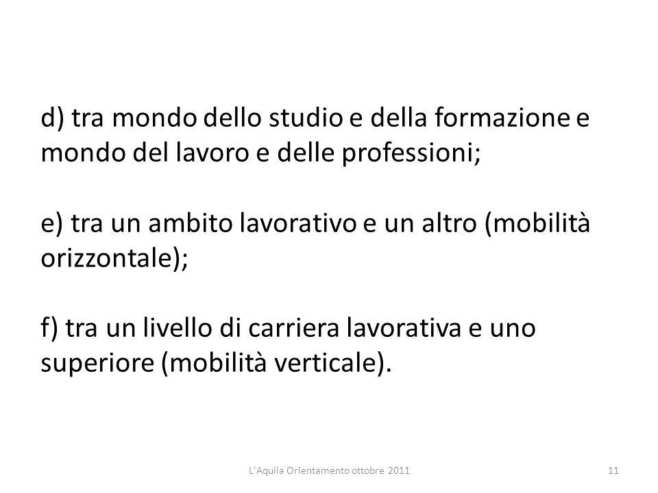 d) tra mondo dello studio e della formazione e mondo del lavoro e delle professioni; e) tra un ambito lavorativo e un altro (mobilità orizzontale); f)