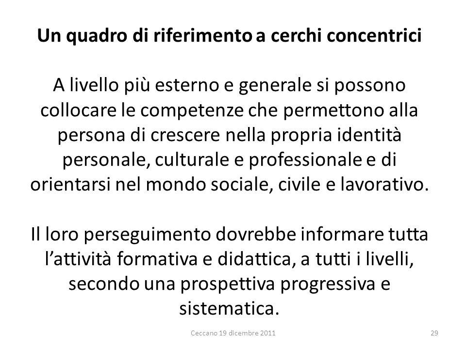 Un quadro di riferimento a cerchi concentrici A livello più esterno e generale si possono collocare le competenze che permettono alla persona di cresc