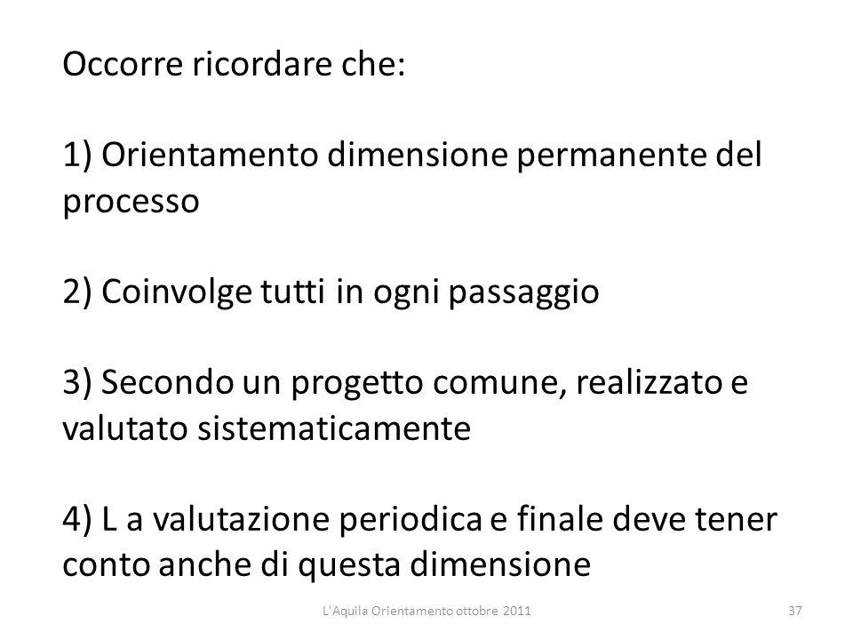 Occorre ricordare che: 1) Orientamento dimensione permanente del processo 2) Coinvolge tutti in ogni passaggio 3) Secondo un progetto comune, realizza
