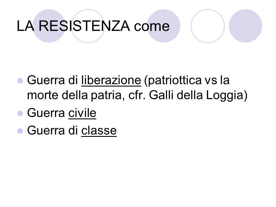 LA RESISTENZA come Guerra di liberazione (patriottica vs la morte della patria, cfr. Galli della Loggia) Guerra civile Guerra di classe